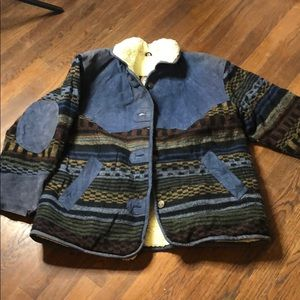 Vintage Coat Leather and sheep wool Aztec Color M
